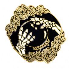 ピンズ・New!水晶玉とガイコツ骸骨の手ローズ薔薇バラの花