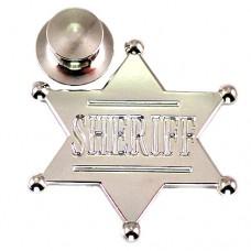 ピンズ・New!シェリフ保安官の星スター銀色アメリカ/USA