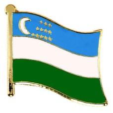 ピンバッジ・New!ウズベキスタン国旗デラックス薄型キャッチ付き三日月