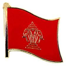 ピンバッジ・New!ラオス王国時代の国旗デラックス薄型キャッチ付き白象