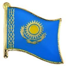 ピンズ・New!カザフスタン国旗デラックス薄型キャッチ付き太陽と鳥