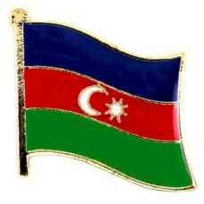 ピンバッジ・New!アゼルバイジャン国旗デラックス薄型キャッチ付き三日月