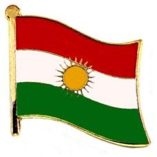 ピンズ・New!クルディスタン国旗デラックス薄型キャッチ付き太陽
