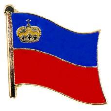ピンズ・New!リヒテンシュタイン公国の国旗デラックス薄型キャッチ付き王冠