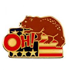 ピンバッジ・アメリカ星条旗と熊OH!/USA国旗