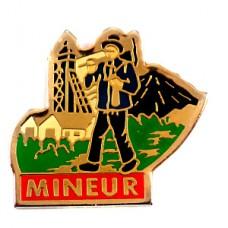 ピンバッジ・道具を持って歩く鉱山の鉱夫
