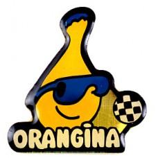 ピンバッジ・オランジーナ瓶とサッカー球