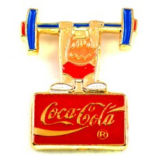 ピンバッジ・真っ赤な顔のコビ五輪バルセロナ重量挙げオリンピック夏コカコーラ犬