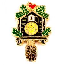 ピンバッジ・木でできた鳩時計