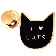 ピンズ・New!アイラブ猫キャッツ大好きハート黒ねこ型