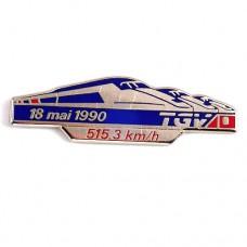 ピンバッジ・フランス新幹線TGV鉄道トレイン時速515.3キロ