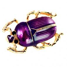 ブローチ・New!紫色の背中の虫ゴールド金色