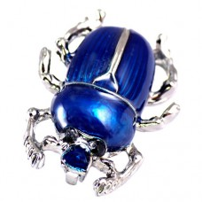 ブローチ・New!青い背中の虫シルバー銀色