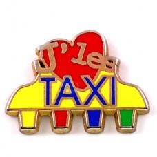 ピンズ・タクシーが大好きハート黄色い車
