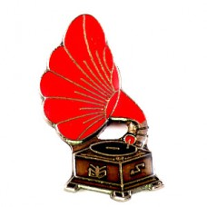 ピンズ・赤い蓄音機アンティーク音楽ミュージック機器