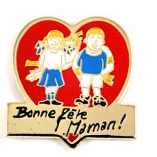 ピンズ・母の日ママ大好き男の子と女の子ハート型