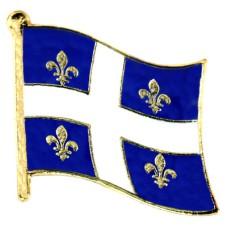 ピンズ・New!ケベック州デラックス薄型キャッチ留め金付き十字と百合の紋章