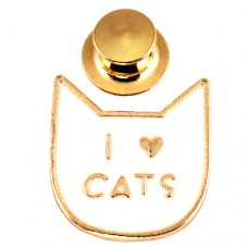 ピンズ・New!アイラブ猫キャッツ大好きハート白ねこ型