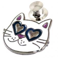 ピンズ・New!猫キャッツ大好きハート型の目の白ねこ型