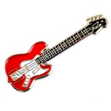 ピンバッジ・New!フェンダー社エレキギター赤い楽器ミュージック音楽