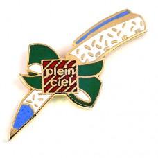 ピンズ・ボールペン文具の贈り物グリーンのリボン緑色