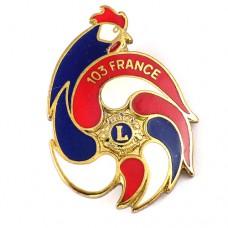 ブローチ・フランス国鳥ニワトリとライオンズクラブL雄鶏