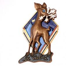 ブローチ・バンビ青い目の鹿と雪の結晶
