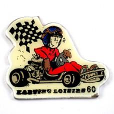 ピンズ・カート車レース旗チェッカーフラッグ赤いドライバー