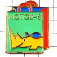 ピンバッジ・黄色犀サイの絵ナタリー買い物ショッピングバッグ袋