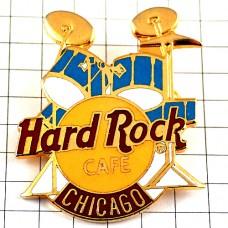 ブローチ・ハードロックカフェ音楽ドラム太鼓シカゴ青い楽器