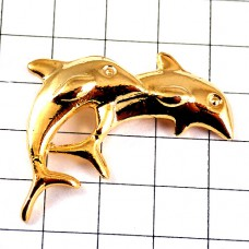ピンズ・イルカ金色ゴールド2頭