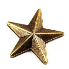 ピンバッジ・New!ブロンズ色の星スター立体型アンティーク真鍮色