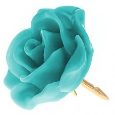 ピンズ・New!ブルーグリーン色の ローズ 薔薇 バラ の 花 ピンバッチ ばら 金色の針 ピンズ