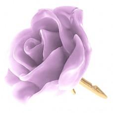 ピンズ・New!薄い紫色クロッカス藤色の ローズ 薔薇 バラ の 花 ピンバッチ ばら 金色の針 ピンズ