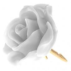 ピンズ・New!ホワイト白色の ローズ 薔薇 バラ の 花 ピンバッチ ばら 金色の針 ピンズ