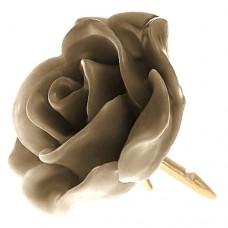 ピンズ・New!薄茶色ラクダ色の ローズ 薔薇 バラ の 花 ピンバッチ ばら 金色の針 ピンズ