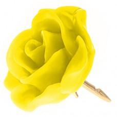 ピンズ・New!イエロー黄色カナリア色の ローズ 薔薇 バラ の 花 ピンバッチ ばら 金色の針 ピンズ