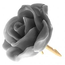 ピンズ・New!グレー灰色の ローズ 薔薇 バラ の 花 ピンバッチ ばら 金色の針 ピンズ