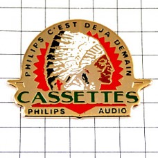 ピンズ・ネイティブアメリカン羽飾り音楽カセット録音フィリップス社
