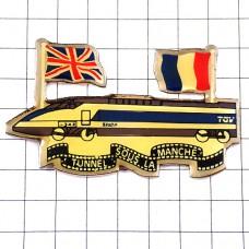 ピンバッジ・フランス新幹線TGVユーロトンネル英国イギリス国旗