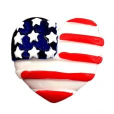 ピンズ・New!アメリカ国旗柄のハート型/USA星条旗