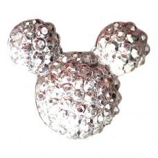 ピンバッジ・New!ミッキーマウス型シルバー銀色に輝くプラスチック製