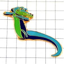 ピンバッジ・青と緑色のワニ鰐 AMSTRAD