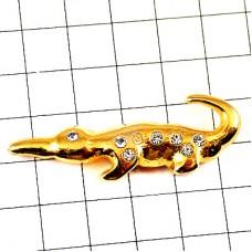 ピンバッジ・金色のクロコダイル鰐ゴールド動物