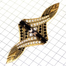 ブローチ・ゴールドのリボンにラインストーン黒と白アンティーク金色