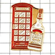 ピンバッジ・ロンドン赤い電話ボックス酒ギブソン瓶ジン英国