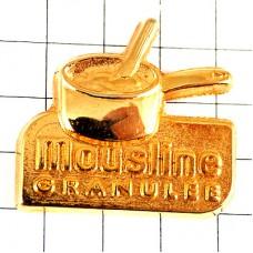 ピンバッジ・金色の片手鍋ゴールド料理