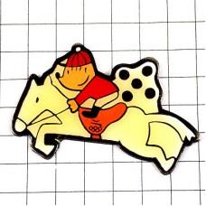 ピンバッジ・乗馬するコビー犬バルセロナ五輪オリンピック夏季スペイン1992年