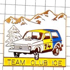 ピンバッジ・四輪駆動車アイス氷上雪山