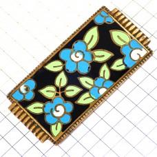 ブローチ・青い花模様アンティーク真鍮色